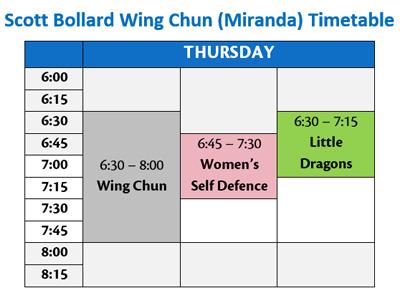 Scott Bollard Wing Chun Miranda Timetable