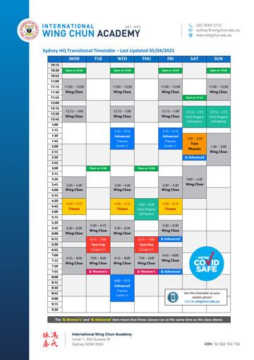 Sydney HQ Timetable